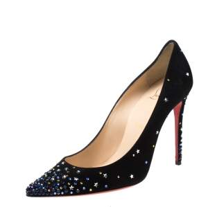 Christian Louboutin Black Suede Crystal Star Embellished Gravitanita Pointed Toe Pumps Size 37.5