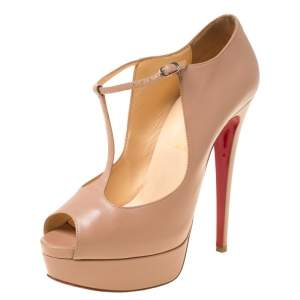 Christian Louboutin Beige Leather Alta Poppins T Strap Peep Toe Platfrom Pumps Size 38.5