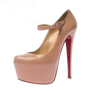 حذاء كعب عالي كريستيان لوبوتان دافوديل ماري جين جلد بيج مقاس 35.5