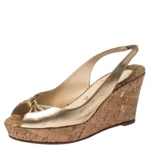 Christian Louboutin Metallic Gold Leather Slingback Wedge Sandals Size 41.5