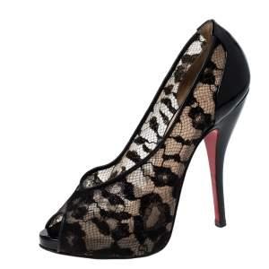 حذاء كعب عالي كريستيان لوبوتان امبرو مقدمة مفتوحة دانتيل و جلد لامع مقاس 36.5