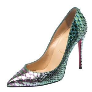 Christian Louboutin Two Tone Python Leather Pigalle Follies Pointed Toe Pumps Size 38