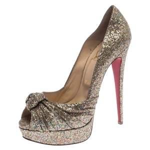 Christian Louboutin Metallic Gold Glitter Fabric Knotted Peep Toe Pumps Size 39