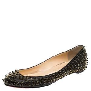 Christian Louboutin Black Leather Studded Ballet Flats Size 38.5