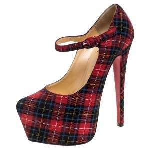 حذاء كعب عالي كريستيان لوبوتان دافوديل ماري جان مربعات نعل سميك خليط صوف متعدد الألوان مقاس 36