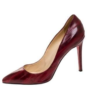 حذاء كعب عالي كريستيان لوبوتان بيغال مقدمة مدببة جلد مزخرف أحمر مقاس 41