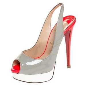Christian Louboutin Tricolor Patent Leather Lady Peep Toe Platform Slingback Sandals Size 38.5
