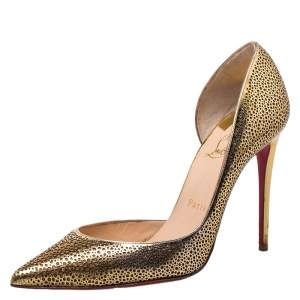 Christian Louboutin Metallic Light Gold Laser Cut Leather and Glitter Galu D'orsay Pointed Toe Pumps Size 37