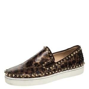 Christian Louboutin Leopard Print Python Leather Pik Boat Slip On Sneakers Size 37
