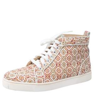 Christian Louboutin Multicolor Woven Leather Rantus Orlato High Top Sneakers Size 39