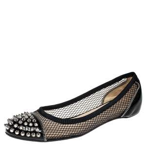 Christian Louboutin Black Patent Leather and Mesh Spike Ballet Flats Size 37.5
