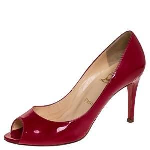 حذاء كعب عالي كريستيان لوبوتان مقدمة مفتوحة مارلي جلد لامع فوشيا مقاس 37