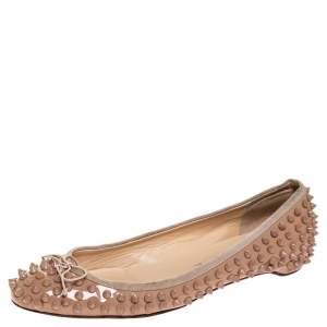 حذاء باليرينا فلات سبايك مقدمة مدببة جلد لامع بيج مقاس 39