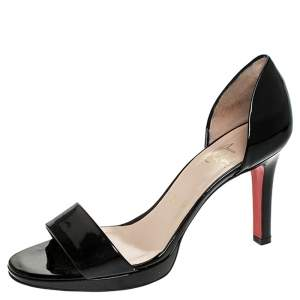 Christian Louboutin Black Patent Leather D'orsay Open Toe Sandals Size 37.5