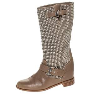 Christian Louboutin Beige Leather Studded Buckle Detail Mid Calf Boots Size 37