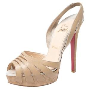 Christian Louboutin Beige Cutout Leather Peep Toe Platform Slingback Sandals Size 38
