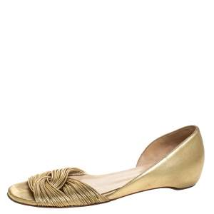 Christian Louboutin Metallic Gold Leather Open Toe Flats Size 38