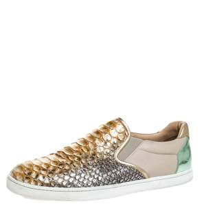 Christian Louboutin Multicolor Python Leather And Leather Pik Boat Slip On Sneakers Size 40.5