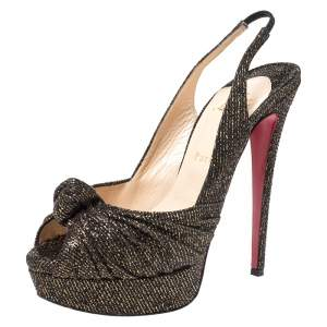 Christian Louboutin Black/Gold Glitter Fabric Jenny Knotted Slingback Platform Sandals Size 39.5