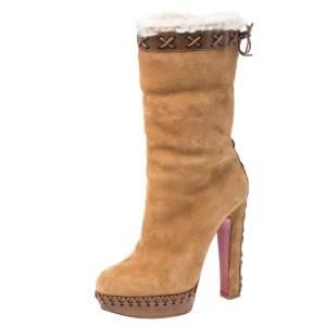 حذاء بوت كريسيتان لوبوتان نعل سميك Step N Roll حافة فرو وجلد وسويدي بيج مقاس 36.5