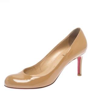 Christian Louboutin Beige Patent Leather Simple Pumps Size 35