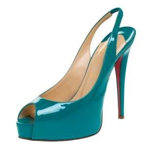 Christian Louboutin Green Patent Leather Lady Peep Slingback Pumps Size 38