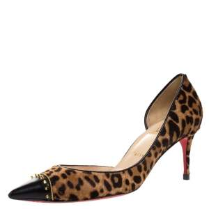 Christian Louboutin Black Leopard Print Calfhair and Leather Culturella Half D'Orsay Pumps Size 37.5