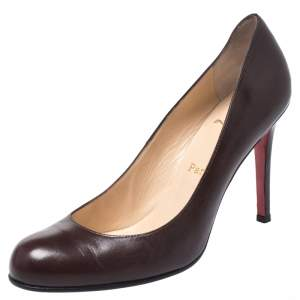Christian Louboutin Brown Leather Simple Pumps Size 38.5