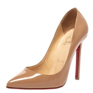 Christian Louboutin Beige Patent Leather So Kate Pointed Toe Pumps Size 35.5