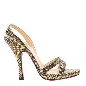 Christian Louboutin Gold Leather Fine Romance 120 Sandals Size 38
