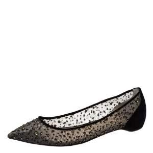 حذاء فلات باليه كريستيان لوبوتان ترصيعات سترس فوليس سويدى وشبك أسود مقاس 36