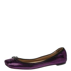 Christian Louboutin Black/Metallic Pink Suede Rosella Bow Ballet Flats Size 37.5