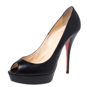 Christian Louboutin Black Leather Lady Peep Toe Platform Pumps Size 41