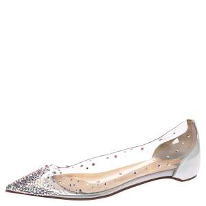 Christian Louboutin Metallic Silver Leather And PVC Degrastrass Pointed Toe Ballet Flats Size 35.5