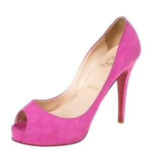 Christian Louboutin Pink Suede Hyper Prive Peep Toe Platform Pumps Size 36.5