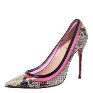 Christian Louboutin Beige/Black Python/Leather and PVC Paulina Pointed Toe Pumps Size 39