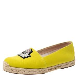 Christian Louboutin Yellow Canvas Gala Embroidered Crest Espadrille Loafers Size 38