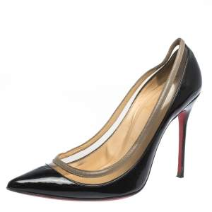 Christian Louboutin Black Patent Leather and PVC Paulina Pointed Toe Pumps Size 36.5