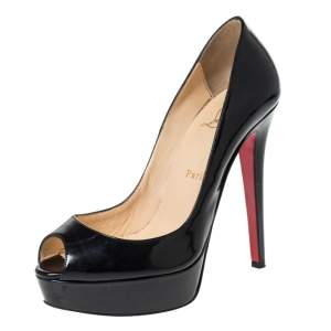 Christian Louboutin Black Patent Leather Lady Peep Toe Platform Pumps Size 37