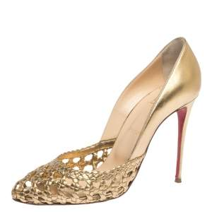 Christian Louboutin Gold Woven Leather Altressita Pumps Size 39