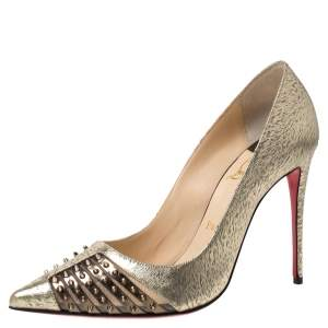 Christian Louboutin Gold Textured Leather Spiked Bareta Pumps Size 38