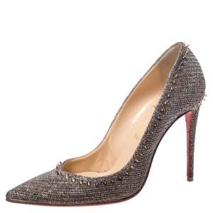 Christian Louboutin Silver/Brown Lame Fabric Anjalina Pointed Toe Pumps Size 37