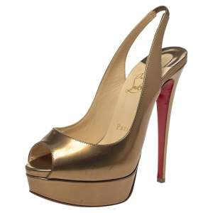 Christian Louboutin Metallic Bronze Leather Lady Peep Toe Platform Slingback Sandals Size 37.5
