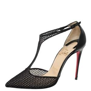 Christian Louboutin Black Lace T-Strap Salonu Pumps Size 36.5