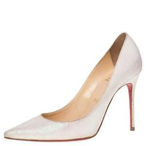 Christian Louboutin White Glitter Fabric Decollete 554 Pumps Size 37.5