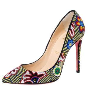 Christian Louboutin Multicolor Floral Beaded Fabric Miss Taos Pumps Size 37