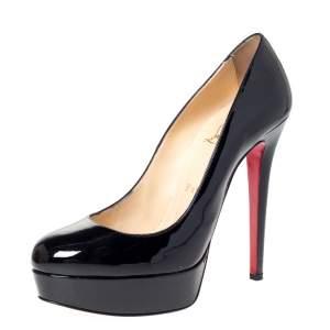Christian Louboutin Black Patent Leather Bianca Platform Pumps Size 38