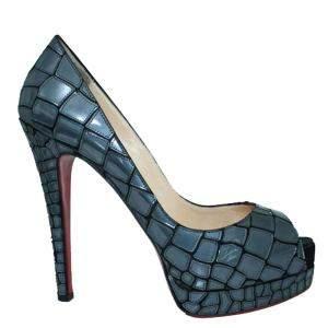 Christian Louboutin Blue Mirror Sequin And Satin Mosaic Sobek Pumps Size 39