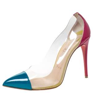 Christian Louboutin Tricolor Patent Leather And PVC Debout Pointed Toe Pumps Size 38