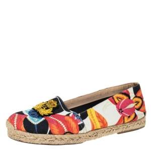 Christian Louboutin Multicolor Hawaii Print Canvas Galia Espadrille Flats Size 39